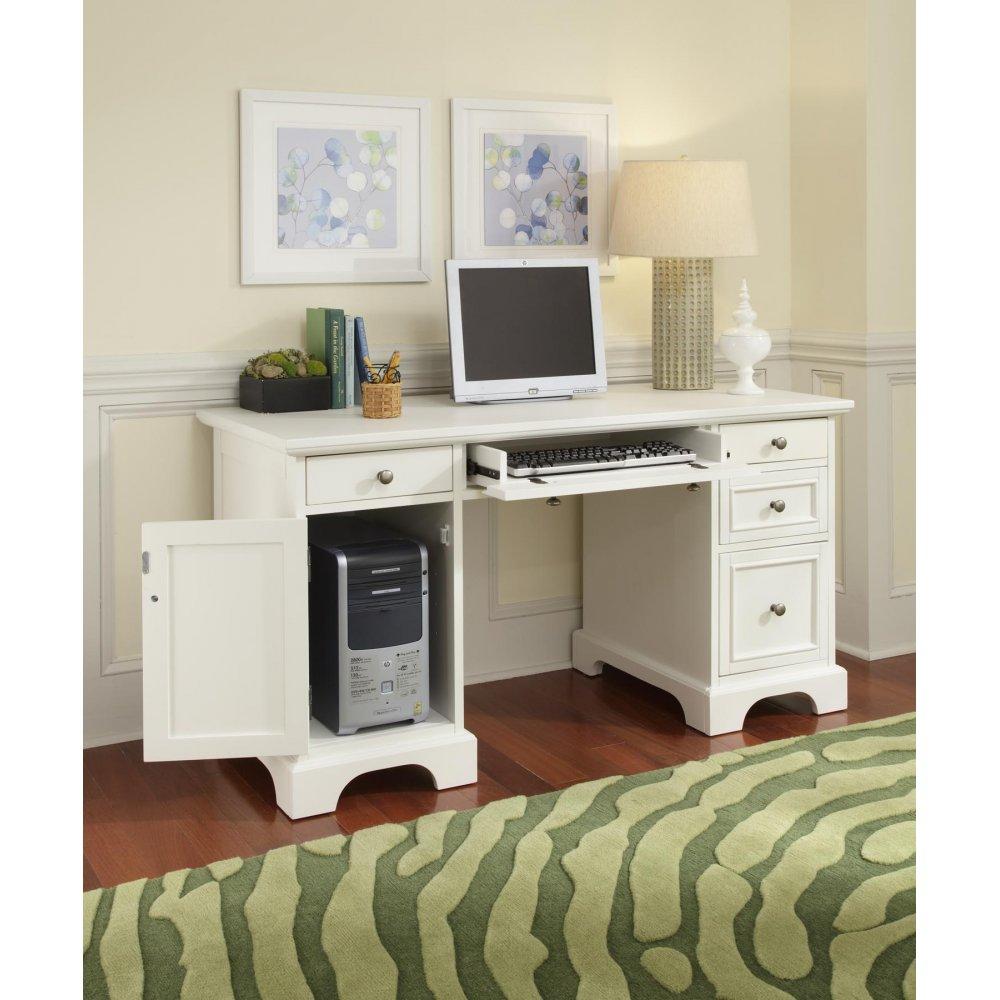 Naples Pedestal Desk White Finish Homestyles