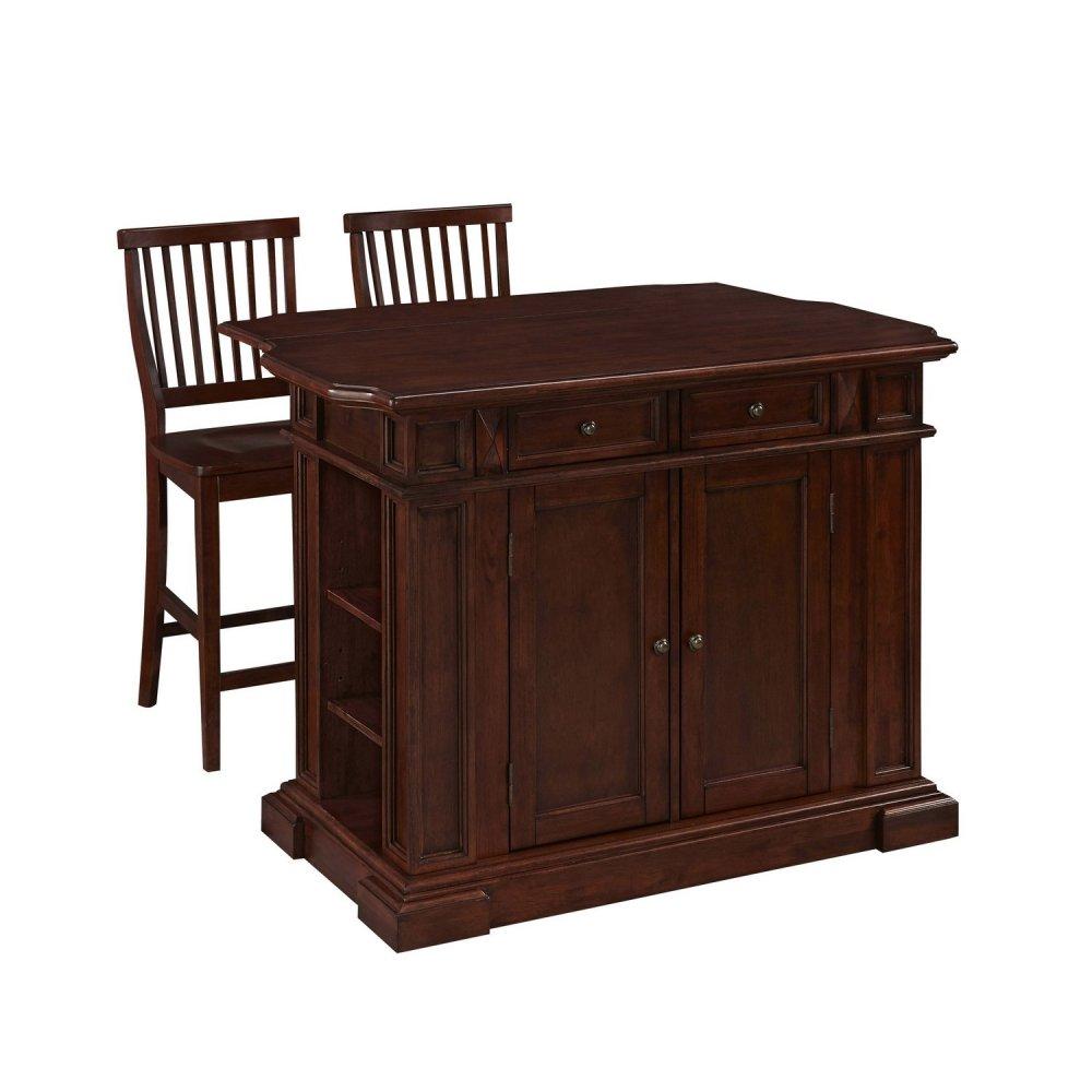 americana cherry kitchen island and two stools americana 5005 9448