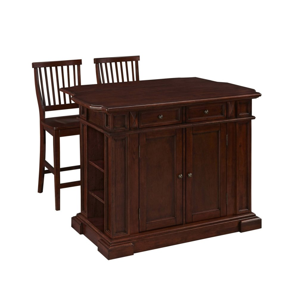 americana cherry kitchen island and two stools homestyles