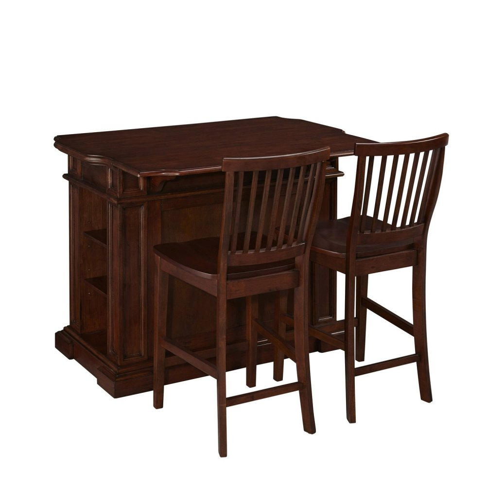 americana cherry kitchen island and two stools homestyles americana kitchen island with 2 stools homestyles