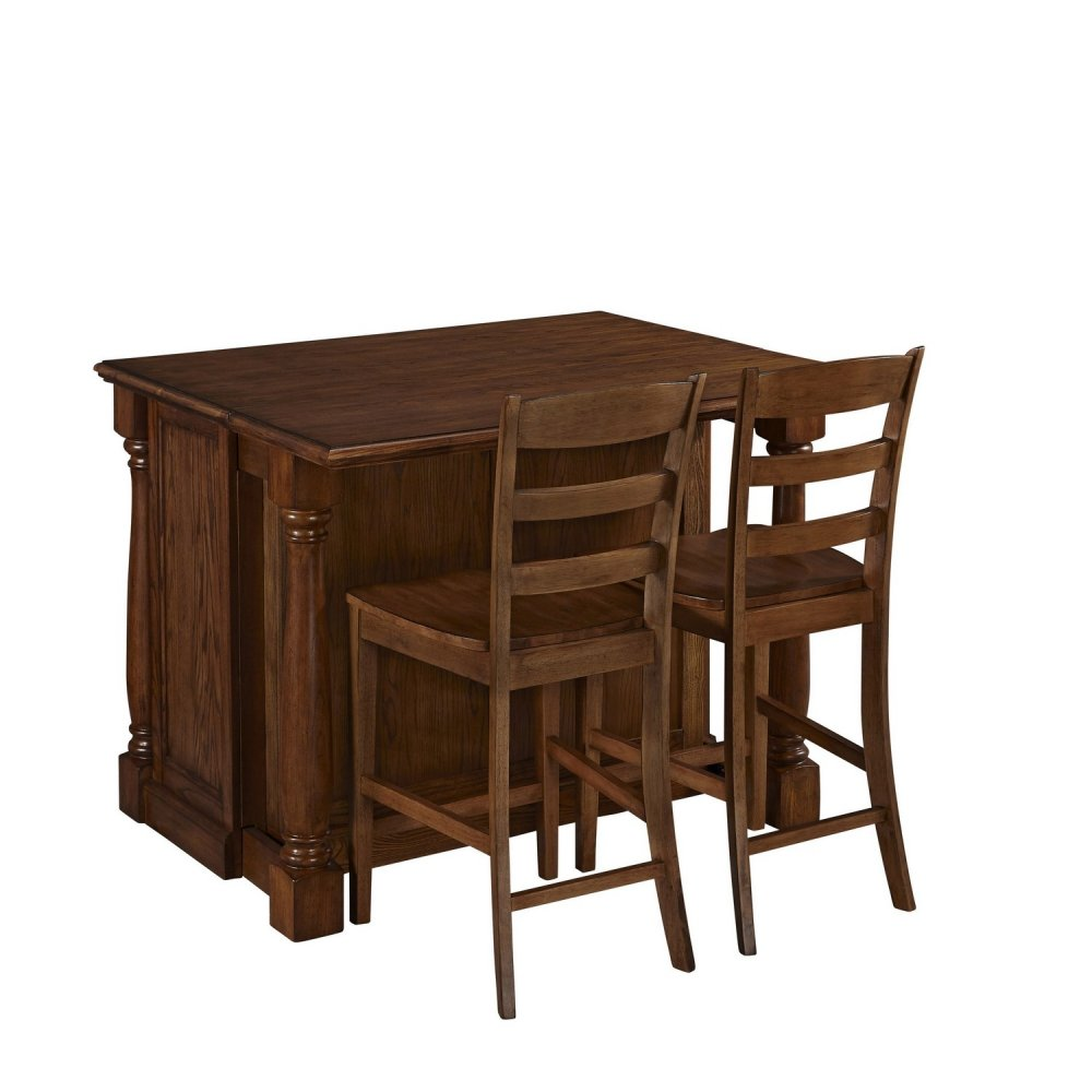 monarch oak kitchen island and two stools homestyles