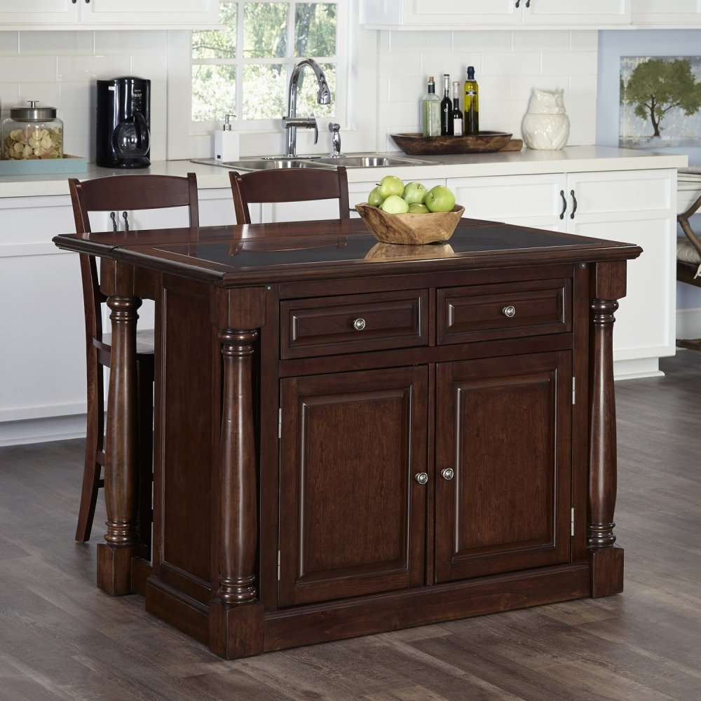 monarch cherry kitchen island and two stools homestyles