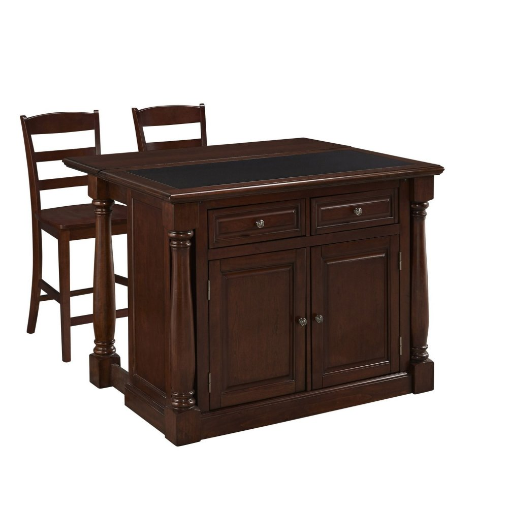 monarch cherry kitchen island and two stools homestyles monarch cherry kitchen island and two stools