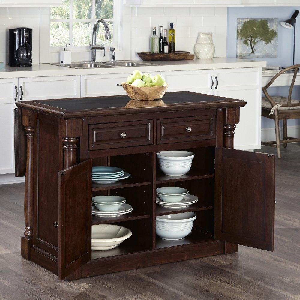 monarch cherry kitchen island w granite top homestyles americana cherry kitchen island and two stools homestyles