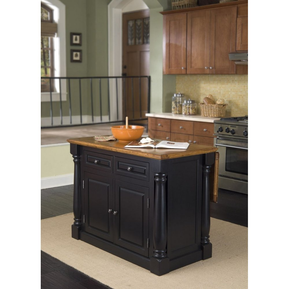 Furniture Style Kitchen Islands: Monarch Island Black And Distressed Oak Finish
