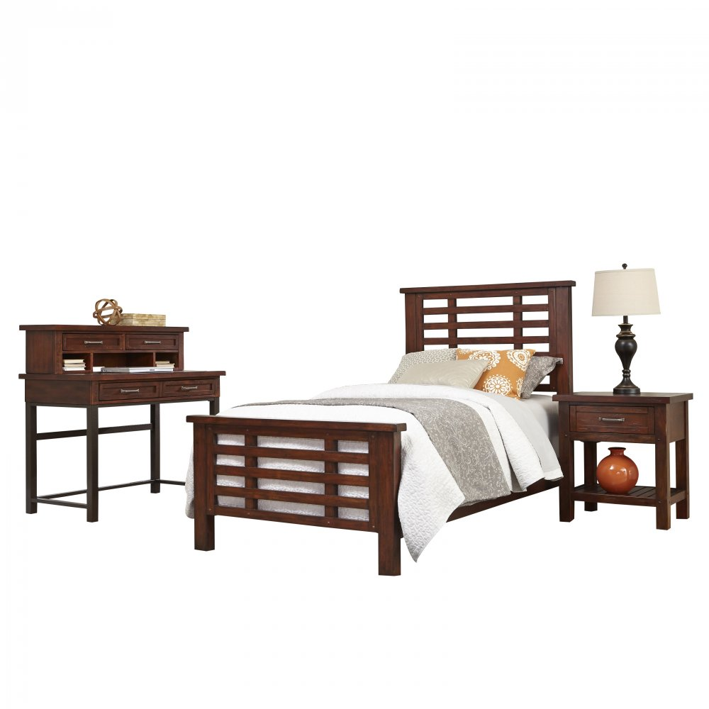 Cabin Creek Twin Bed Nightstand and Student Desk with Hutch