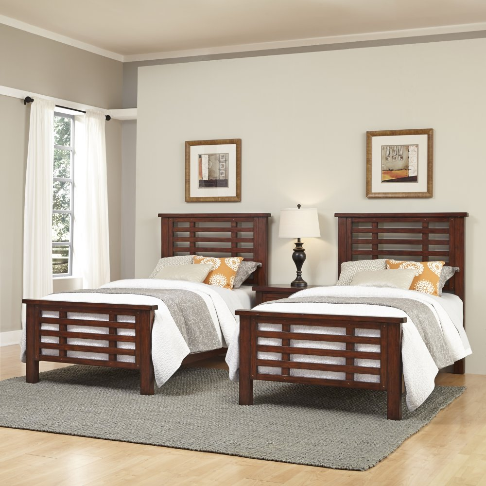 Cabin creek two twin beds and nightstand homestyles for Small room two twin beds