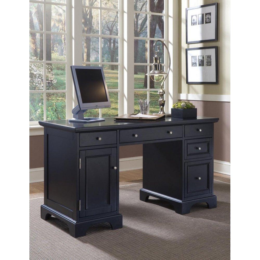 Bedford Black Pedestal Desk Home Styles