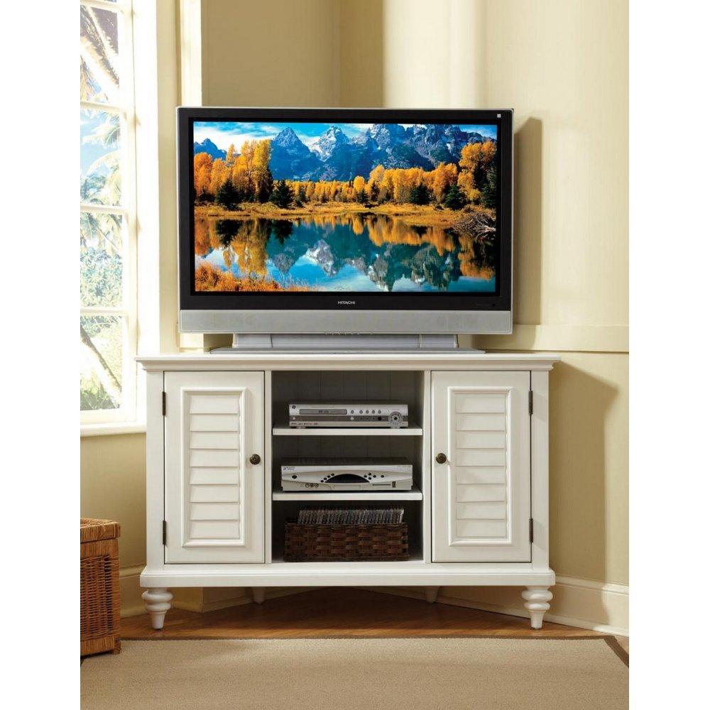 Bermuda Brushed White Corner TV Stand