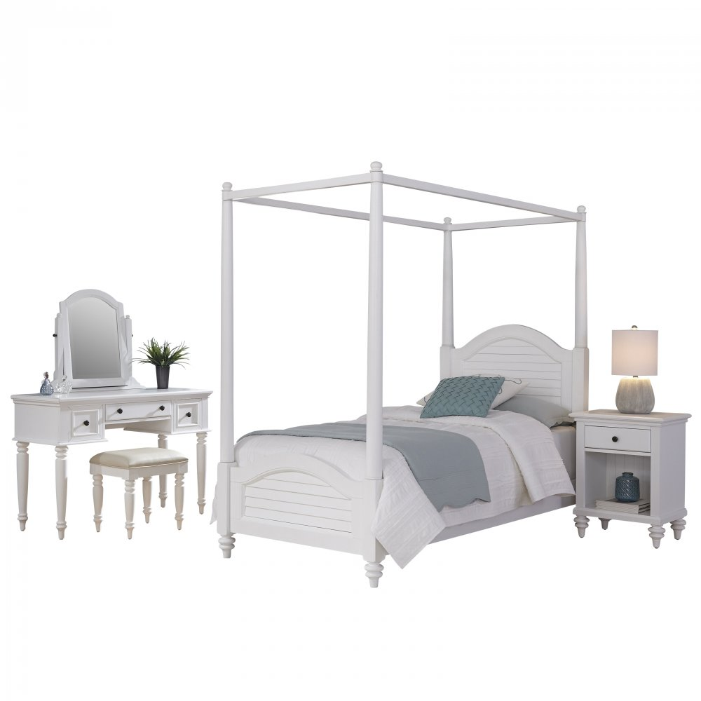 Bermuda White Twin Canopy Bed, Nightstand, and Vanity with Bench