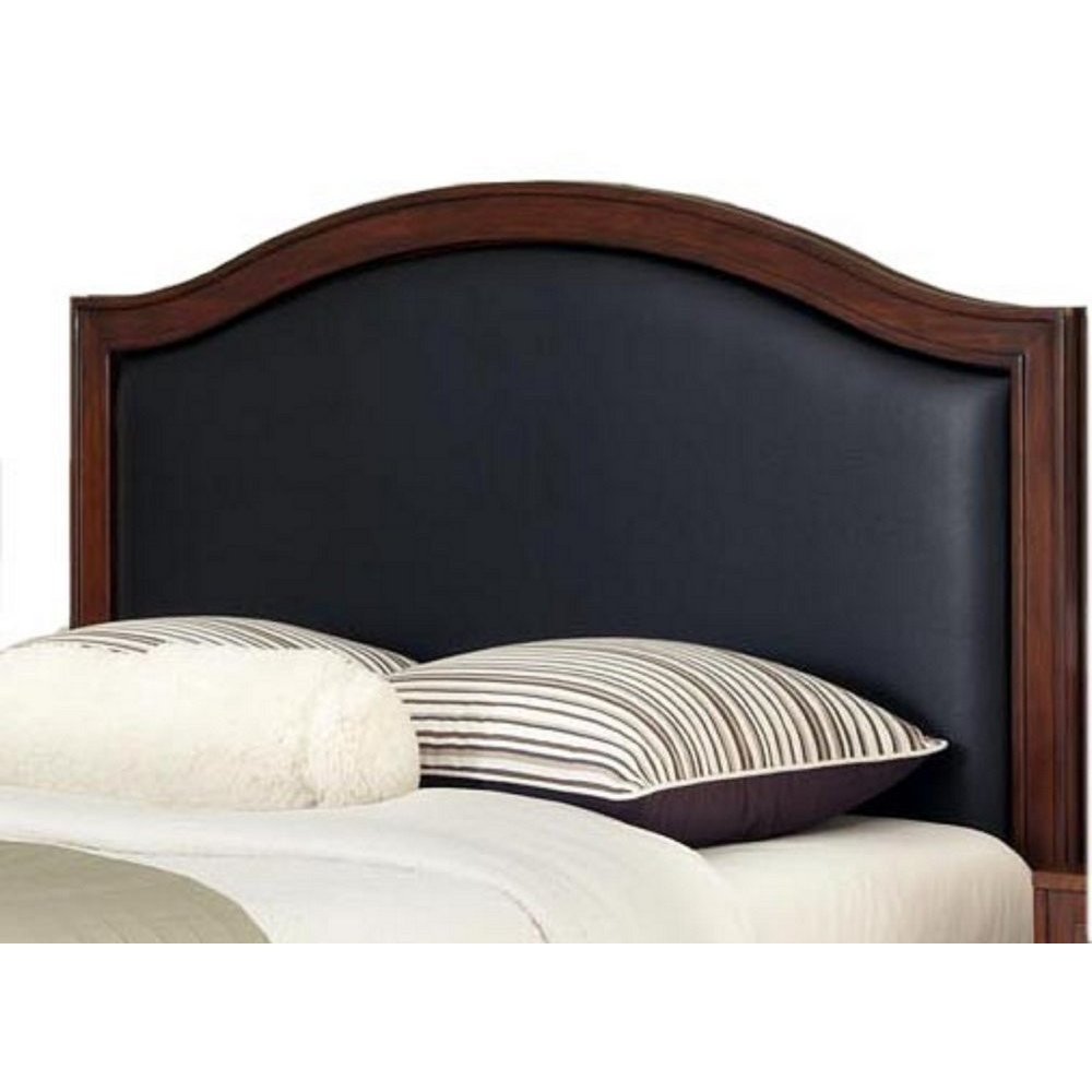 duet queen camelback headboard black leather inset homestyles. Black Bedroom Furniture Sets. Home Design Ideas