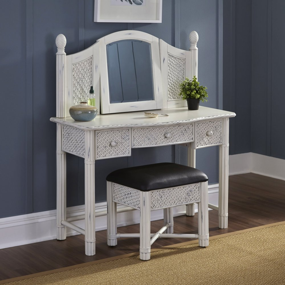 Marco Island Vanity And Bench White Finish Homestyles