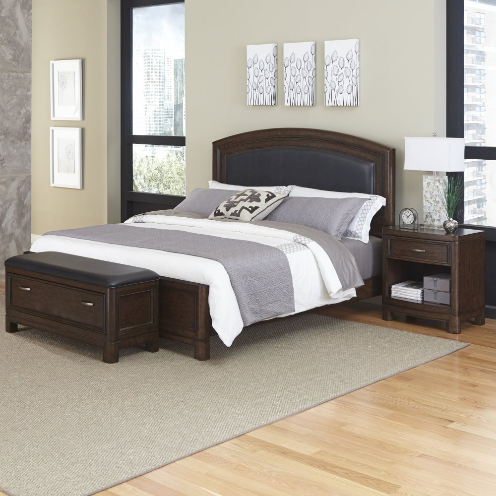 Crescent Hill Queen Leather Upholstered Bed Nightstand And Upholstered Bench Homestyles
