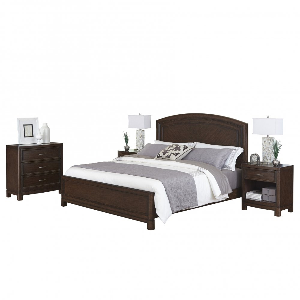 Crescent Hill King Bed Two Nightstands Chest Homestyles