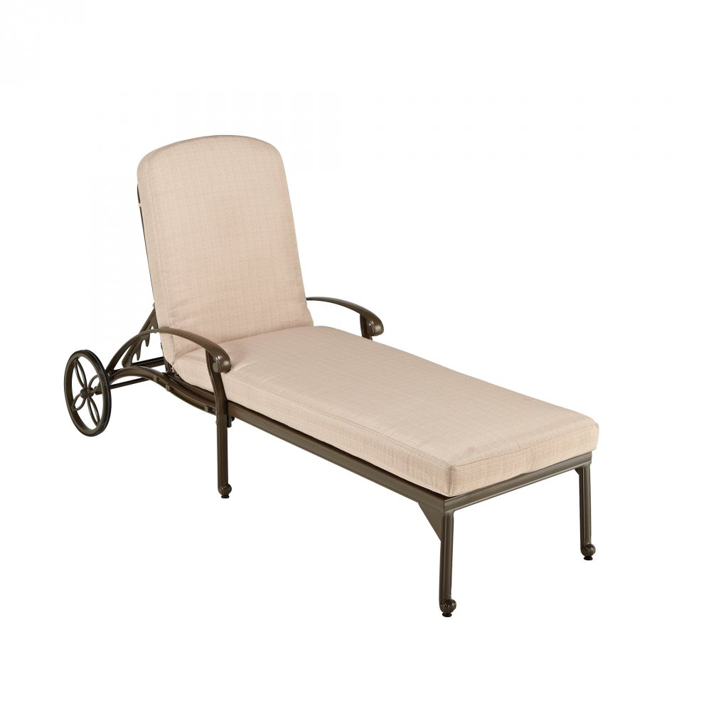 Floral Blossom Taupe Chaise Lounge Chair