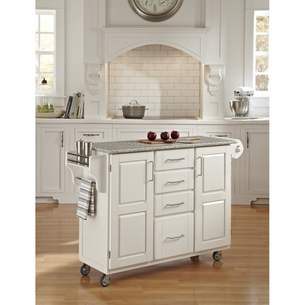 Create-a-Cart White Finish SP Granite Top | Home Styles