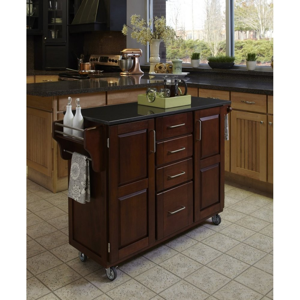Create-a-Cart Cherry Finish Black Granite Top | Home Styles