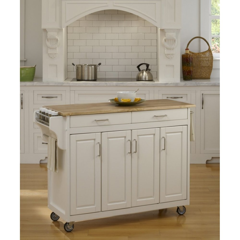 Charmant Create A Cart White Finish With Wood Top