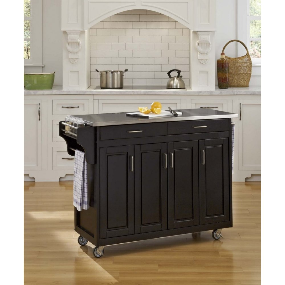 Create A Cart Black Finish Stainless Top