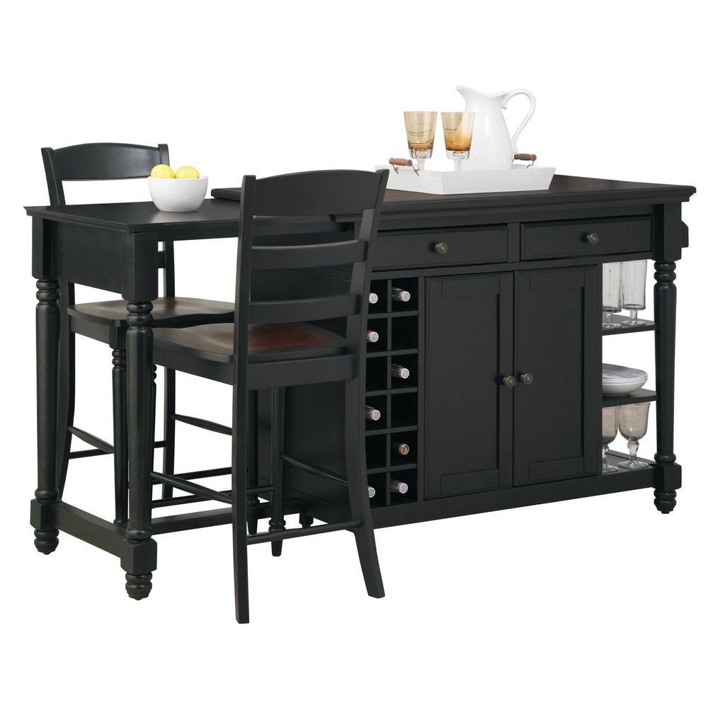Grand Torino Kitchen Island & Two Stools | Home Styles