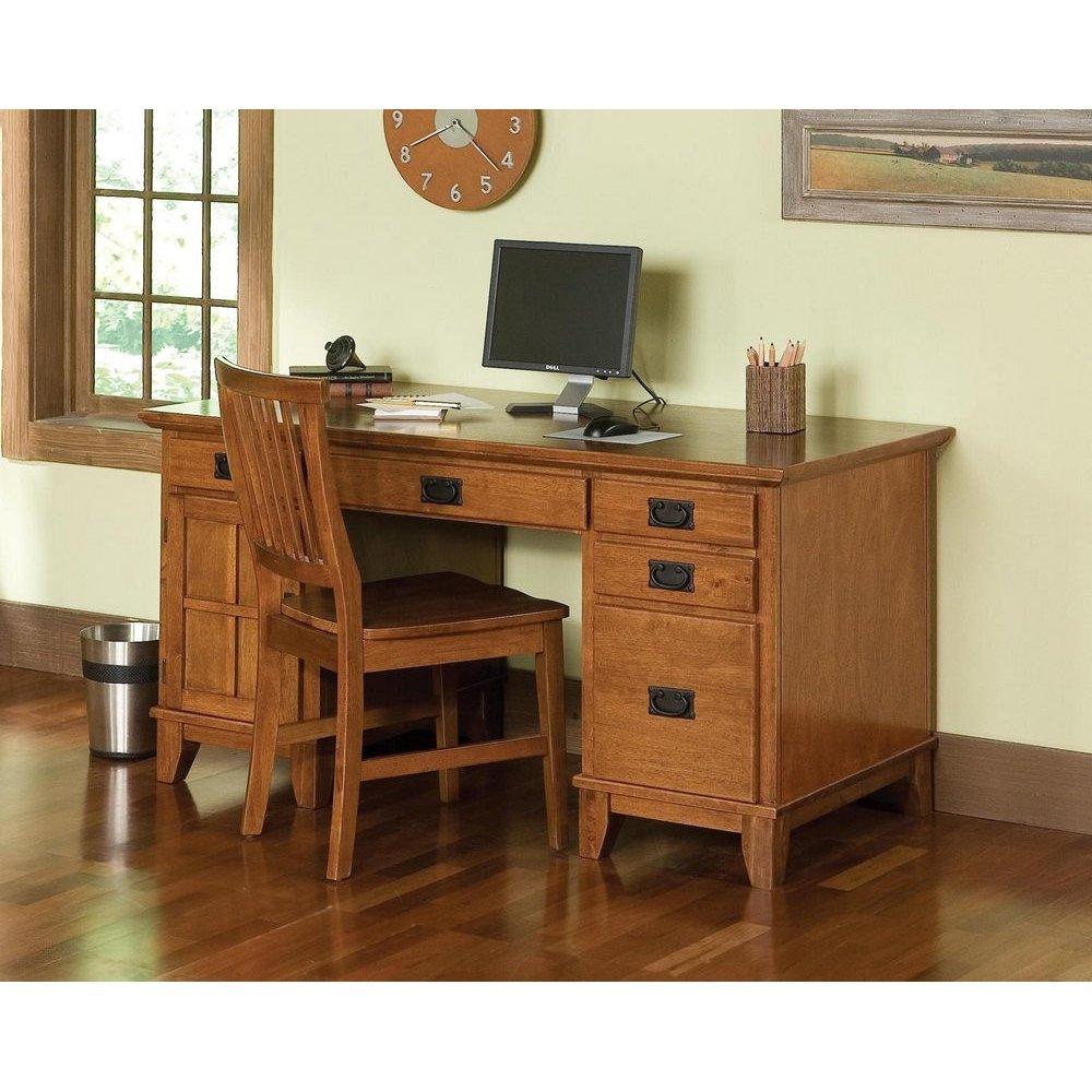 Arts Crafts Pedestal Desk Cottage Oak Finish