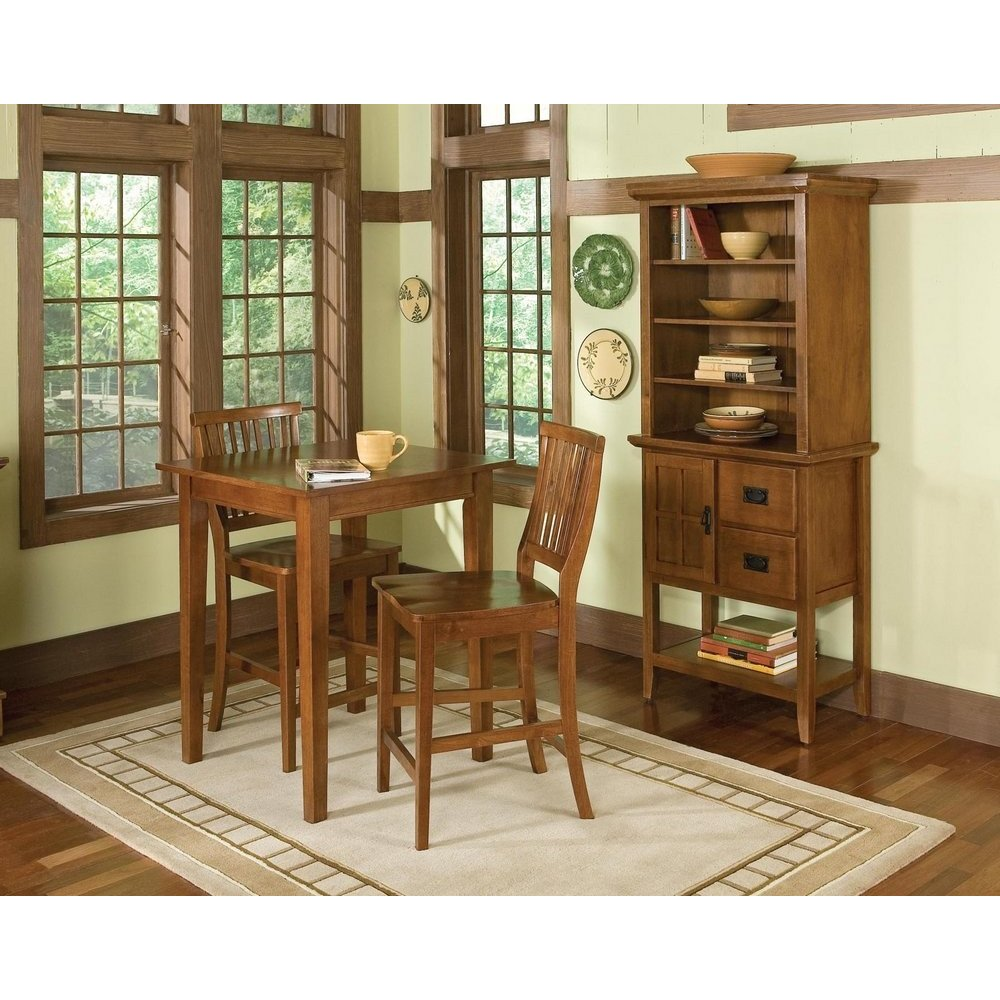 arts crafts 3pc bistro set cottage oak finish homestyles. Black Bedroom Furniture Sets. Home Design Ideas
