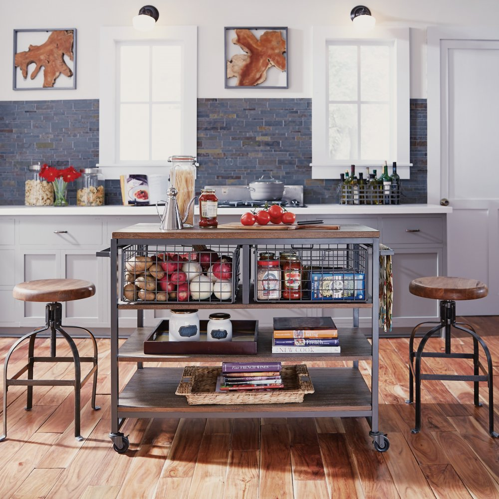5053-95 Barnside Metro Kitchen Cart, Stools shown not available.