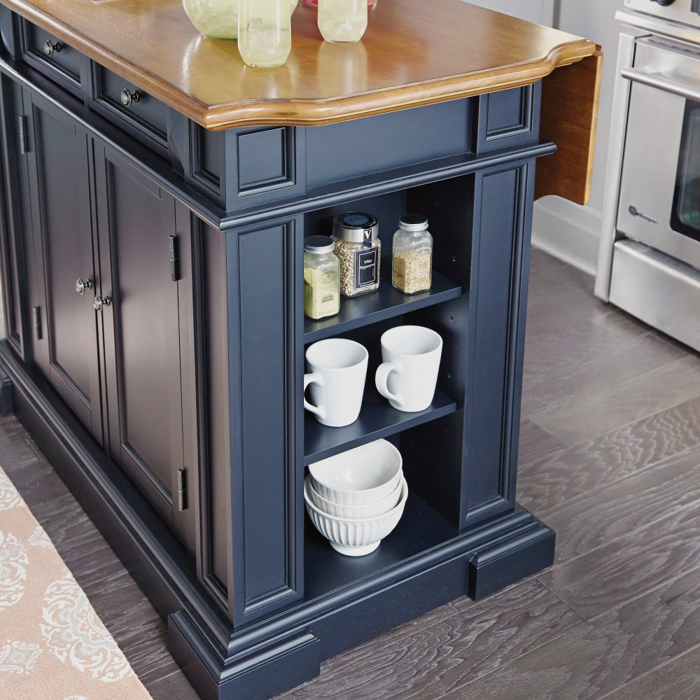 Americana Kitchen Island Black And Distressed Oak Finish