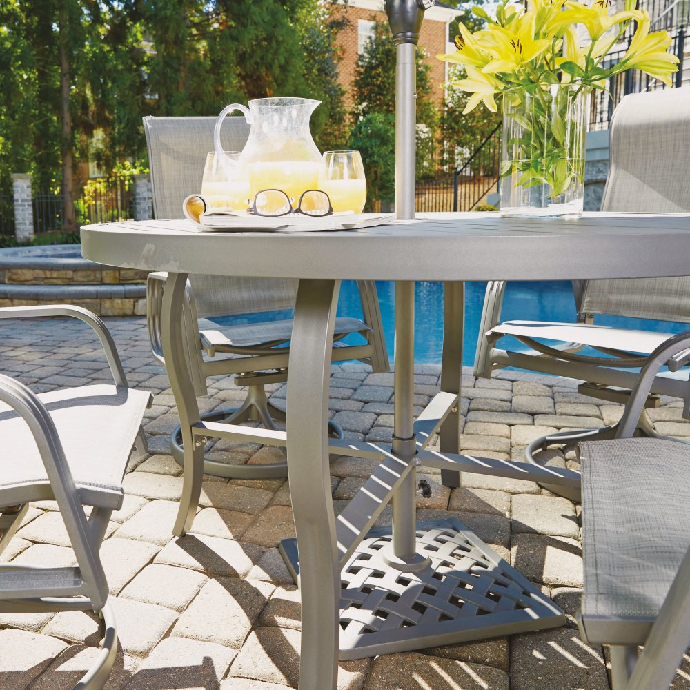 5702-3215 Daytona Five Piece 48 Inch Round Outdoor Dining Table with Two Swivel Rocking Chairs and Two Sling Arm Chairs Shown With Umbrella and Base Sold Separately