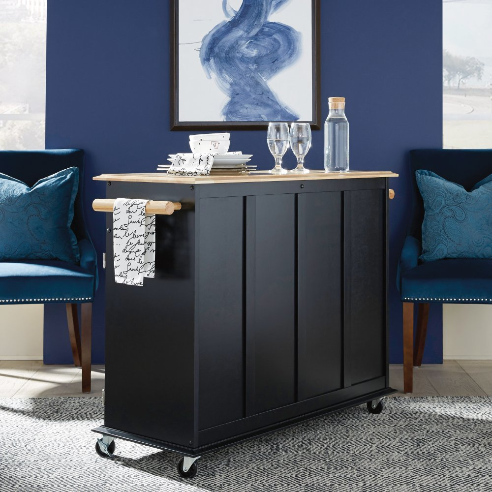 Home Styles 4528 95 Kitchen Island Cart: Dolly Madison Black Island Cart