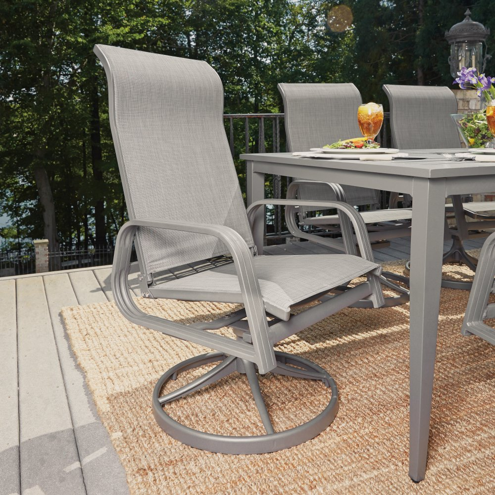 5702-31156 Daytona Nine Piece Rectangular Outdoor Dining Table with Four Sling Arm Chairs, Two Swivel Rocking Chairs, Umbrella and Base