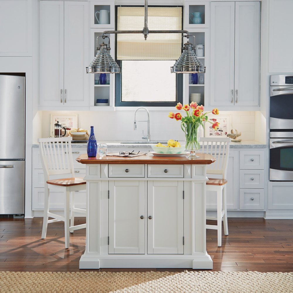 Americana Kitchen Island and Stools White and Distressed Oak ...