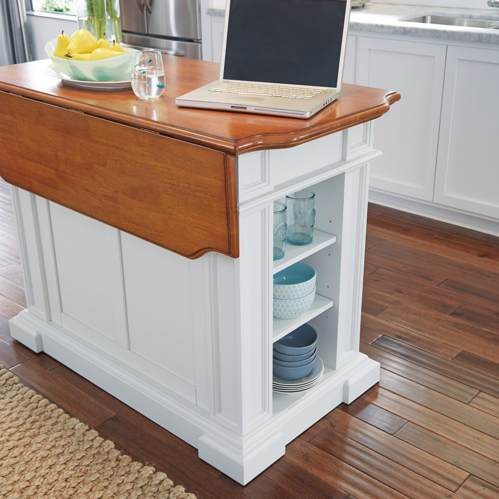 Americana Kitchen Island And Stools White And Distressed Oak