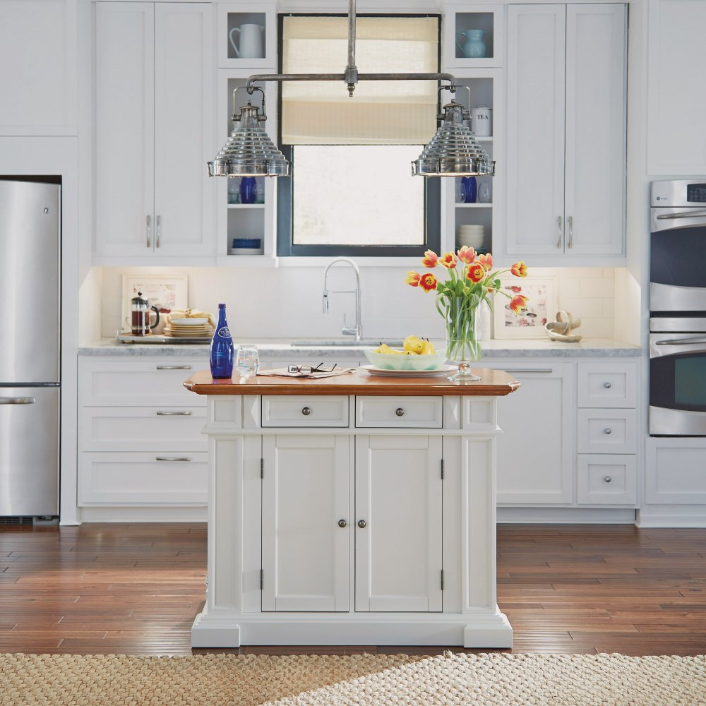 Americana Kitchen Island White And Distressed Oak Finish