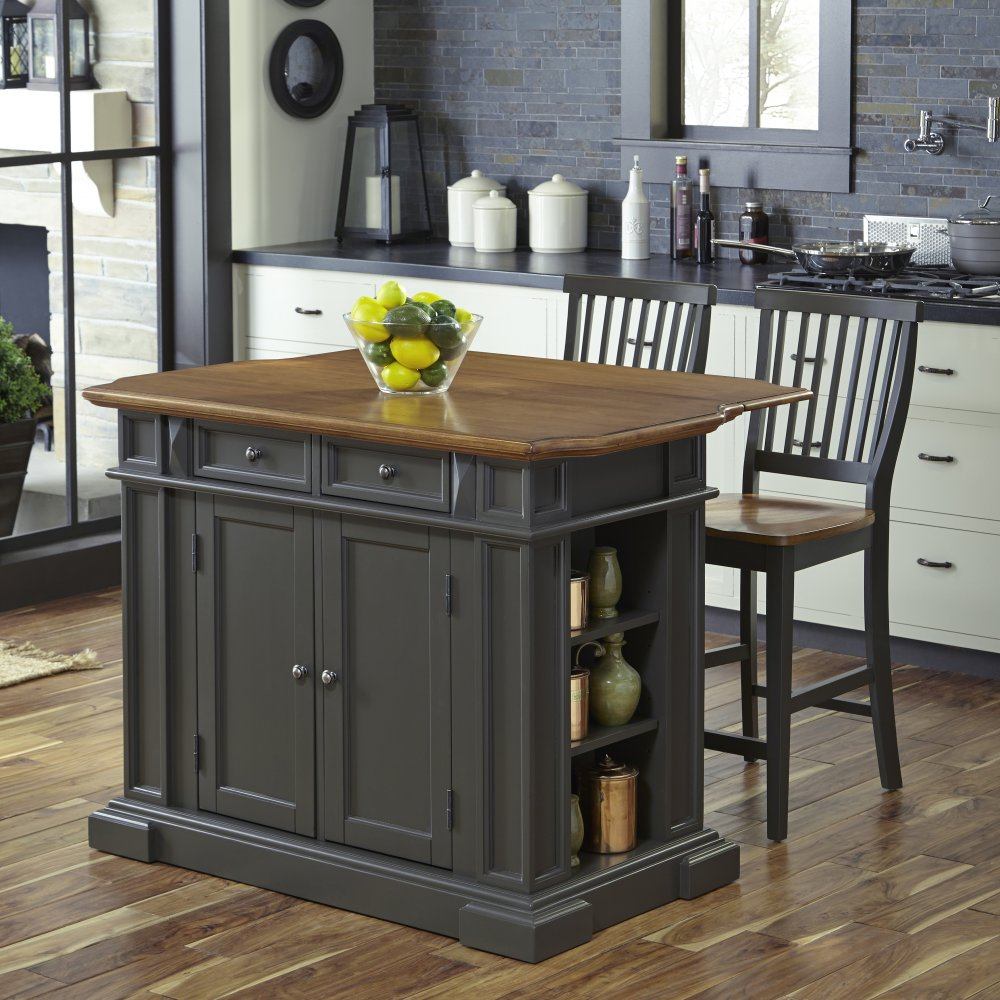 Americana Kitchen Island With 2 Stools