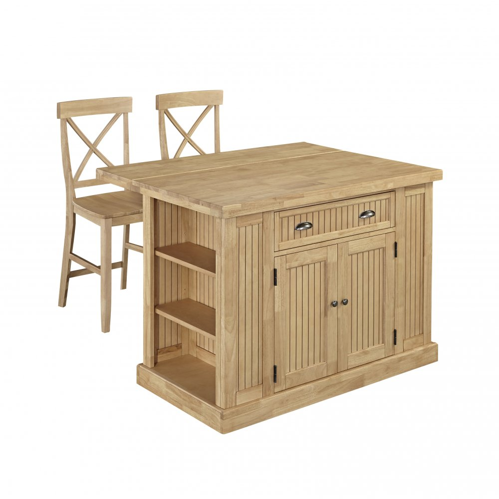 nantucket natural butcher block top kitchen island with 2