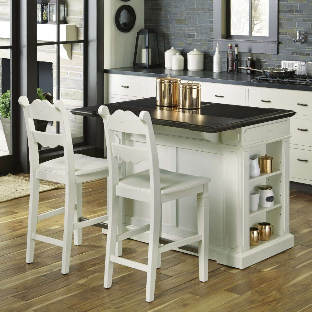 Fiesta granite top kitchen island with 2 stools homestyles for Best kitchen stools