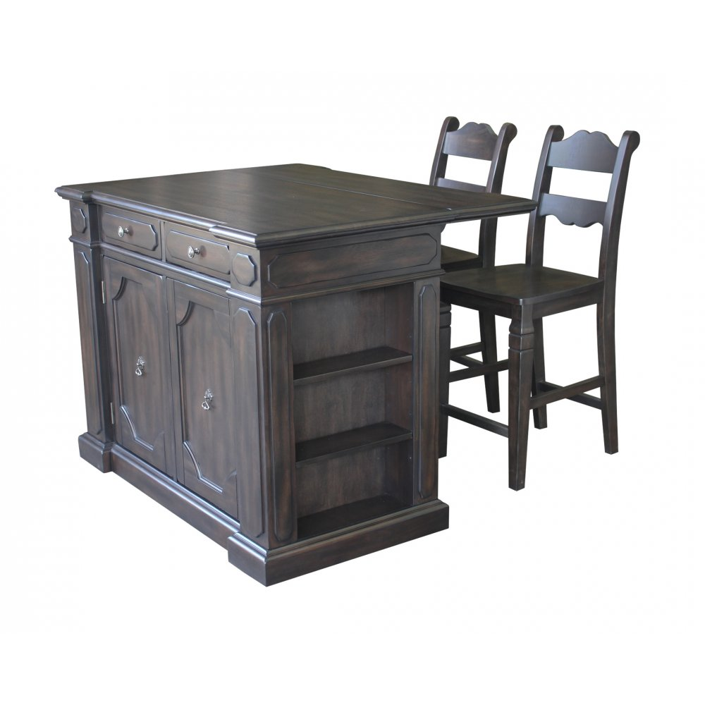 Hacienda wood top kitchen island with 2 stools homestyles for Best kitchen stools