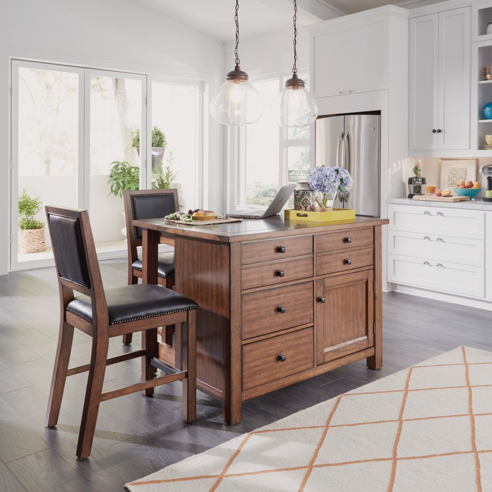 5412-948Q Tahoe Kitchen Island with Quartz Top and Counter Stools