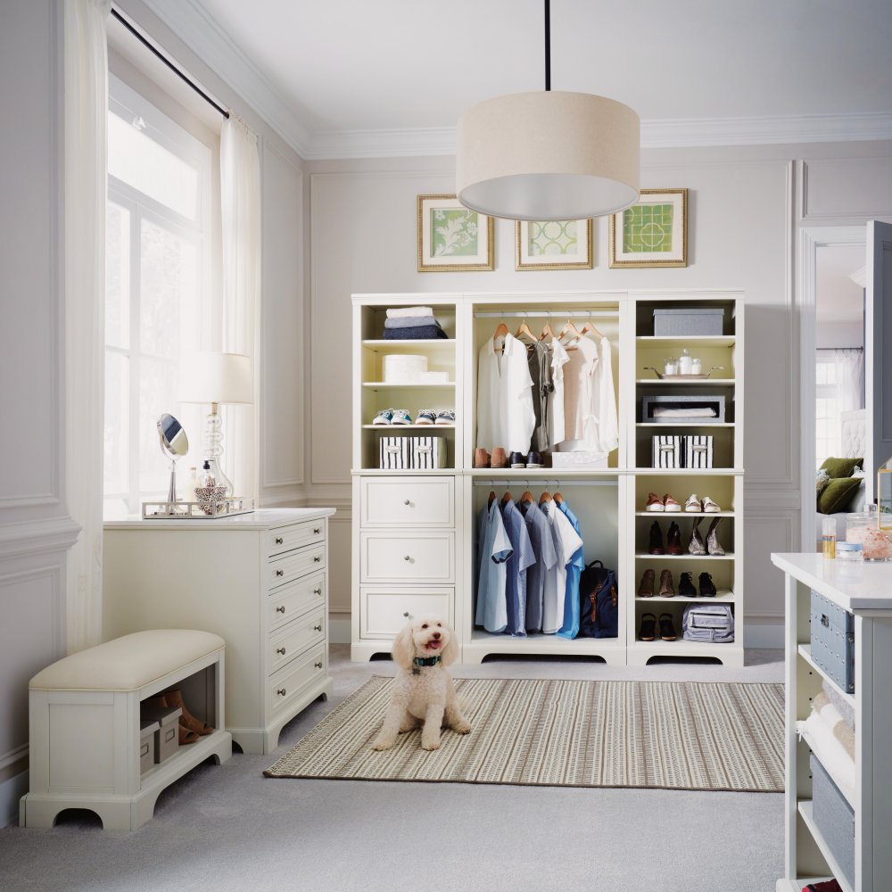 Naples Three-Piece Closet Wall Unit with 36 inch Storage Island and Bench & Naples Three-Piece Closet Wall Unit with 36 inch Storage Island and ...