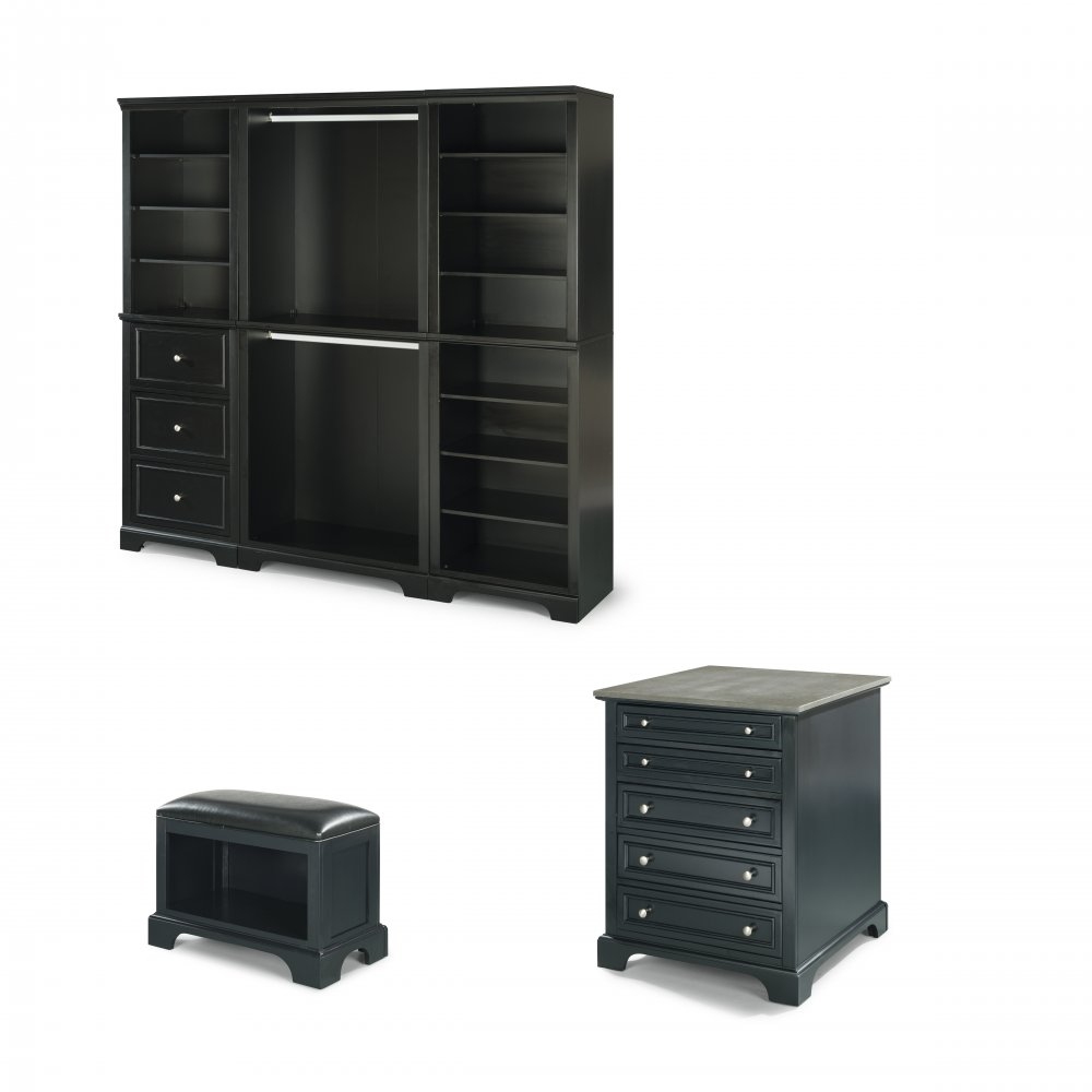 Bedford 3pc Storage Wall Unit With 30 Inch Storage Island And Bench