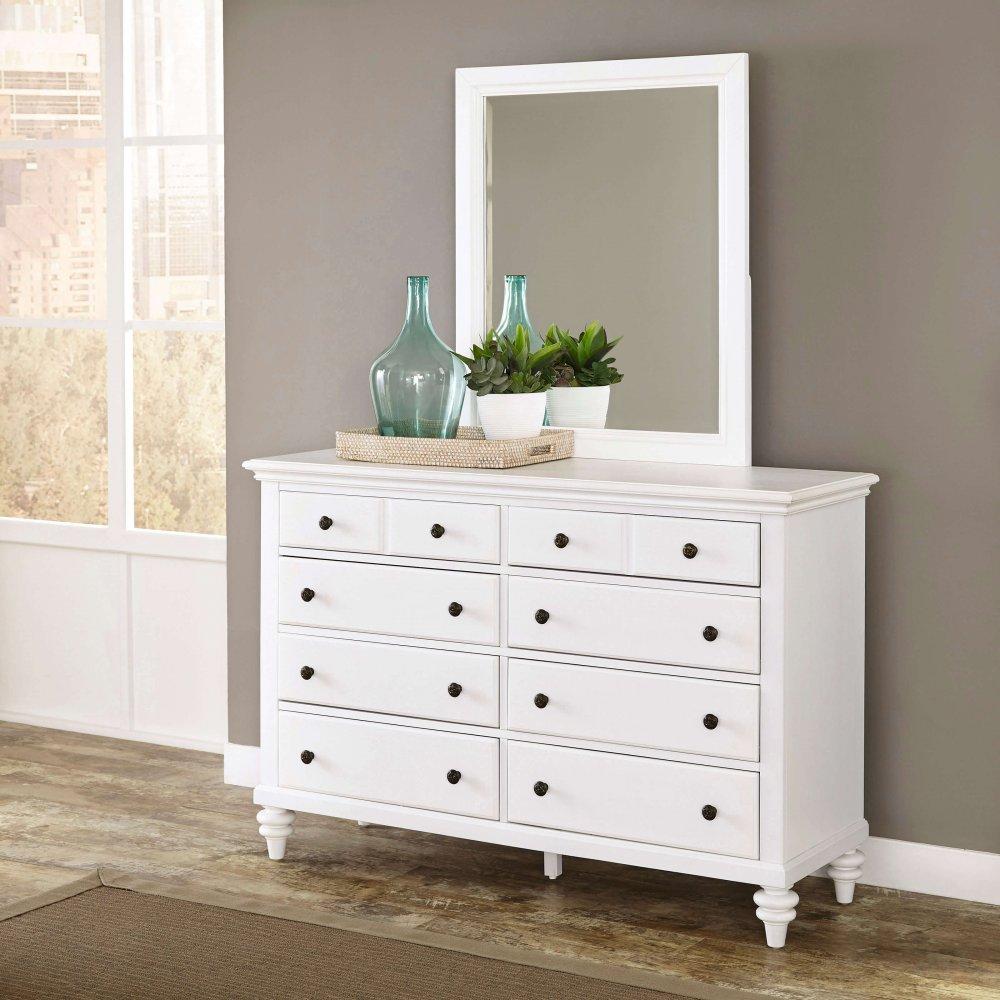 bermuda brushed white dresser and mirror   homestyles