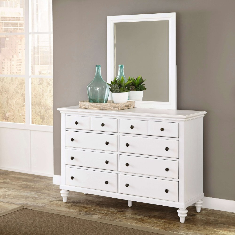 bermuda brushed white dresser and mirror homestyles. Black Bedroom Furniture Sets. Home Design Ideas