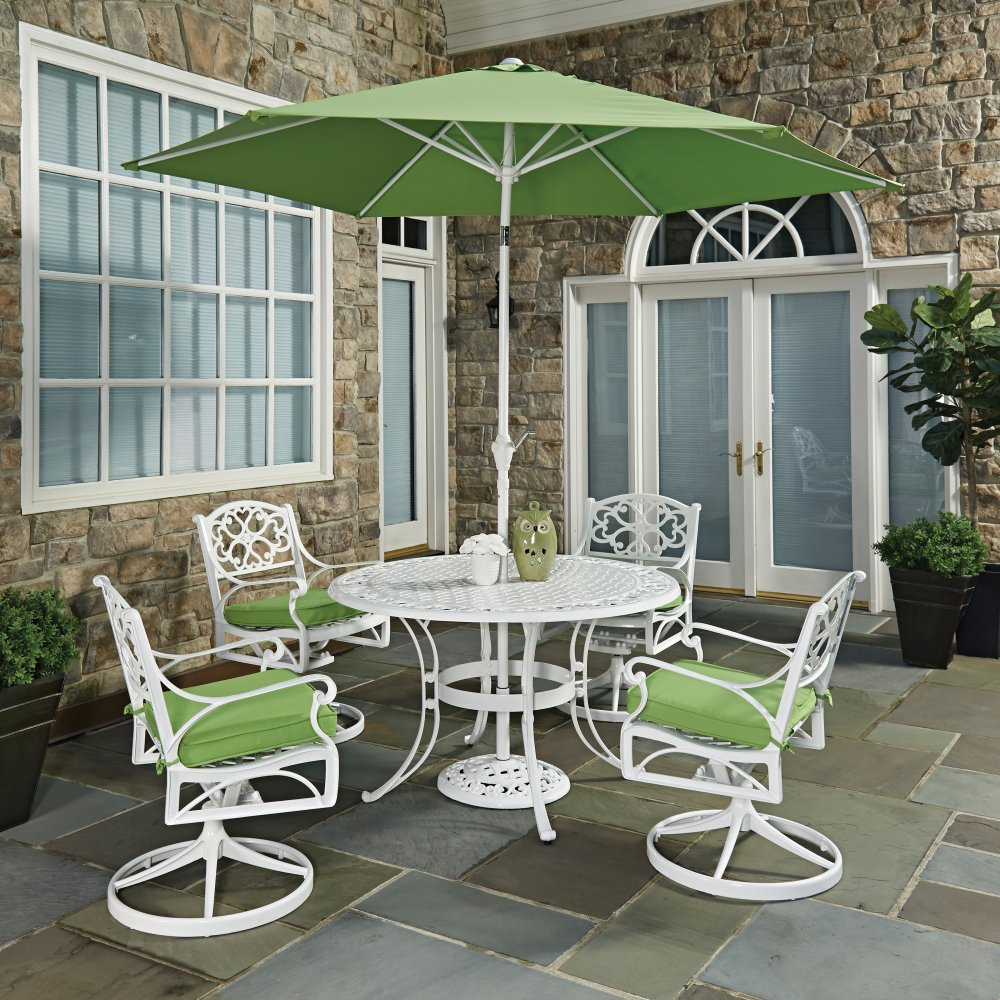 Biscayne wire chairs - Biscayne White Round 7 Pc Outdoor Dining Table 4 Swivel Rocking Chairs With Cushions Umbrella With Base