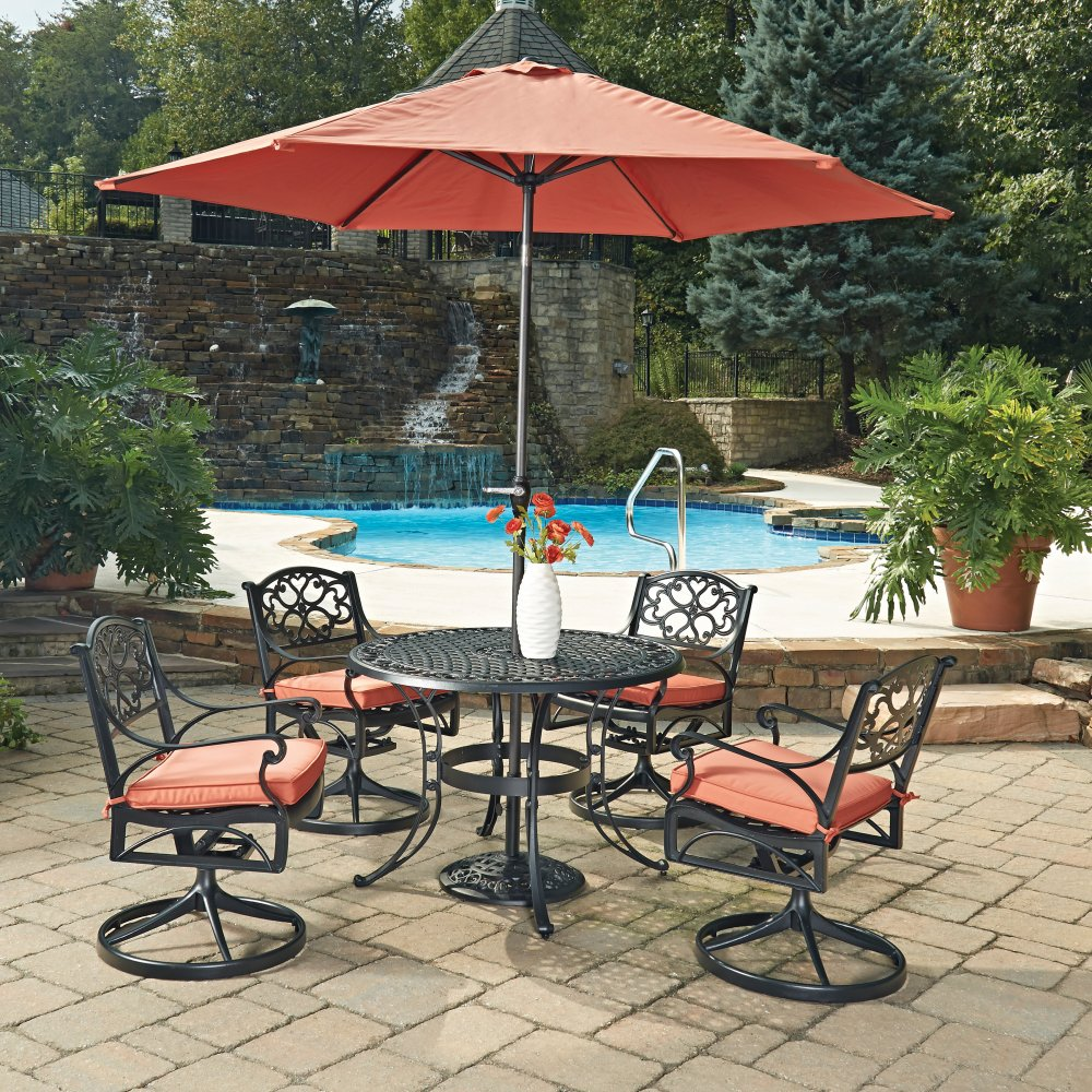 Biscayne Black Round 7 Pc Outdoor Dining Table 4 Swivel Rocking Chairs With Cushions Umbrella