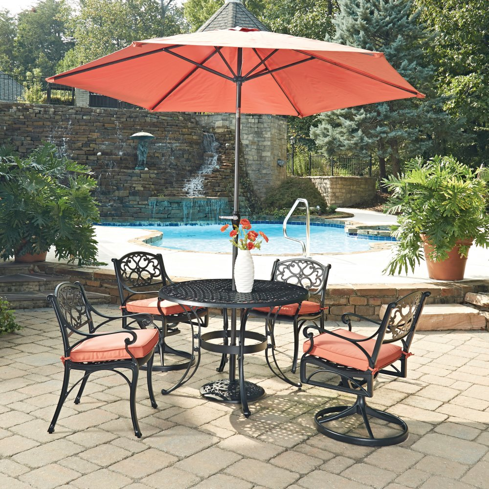 biscayne black round 7 pc outdoor dining table 2 arm chairs 2 swivel