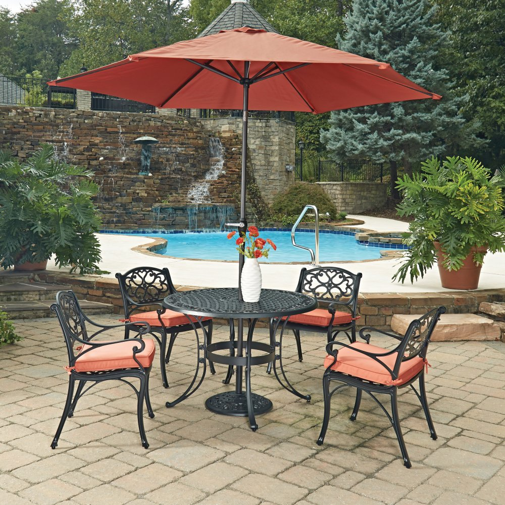 Biscayne Black Round 7 Pc Outdoor Dining Table 4 Arm Chairs With Cushions Umbrella With Base
