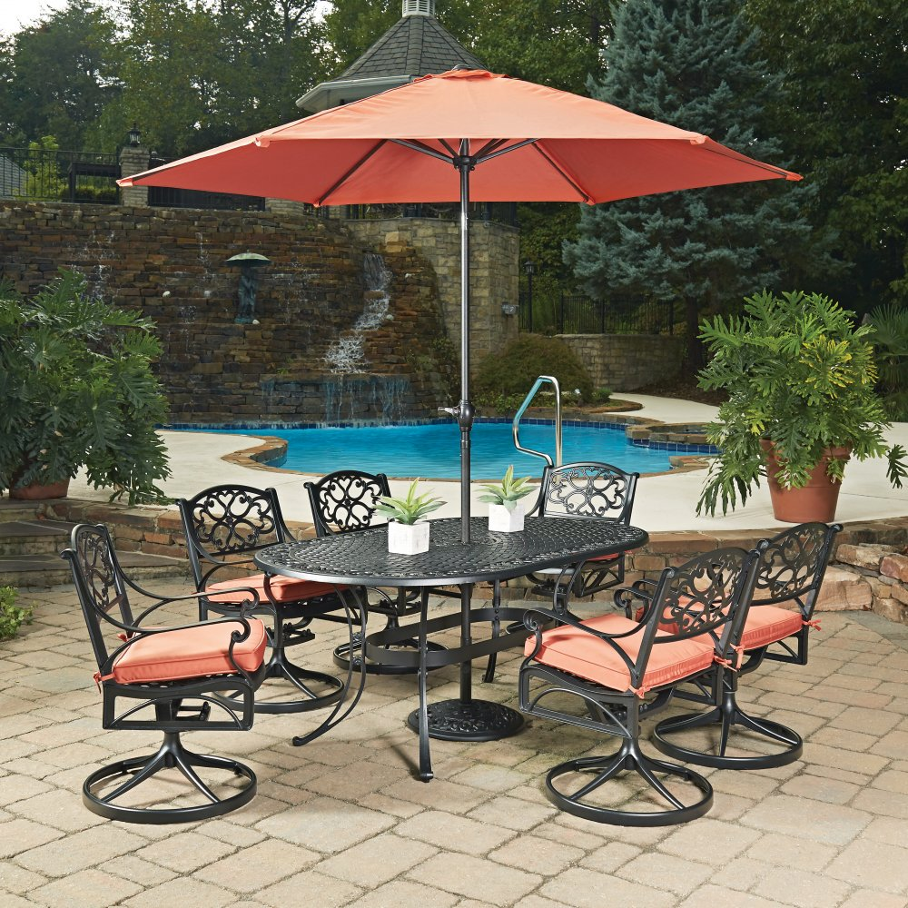 Biscayne black oval 9 pc outdoor dining table 6 swivel for Patio chair with umbrella