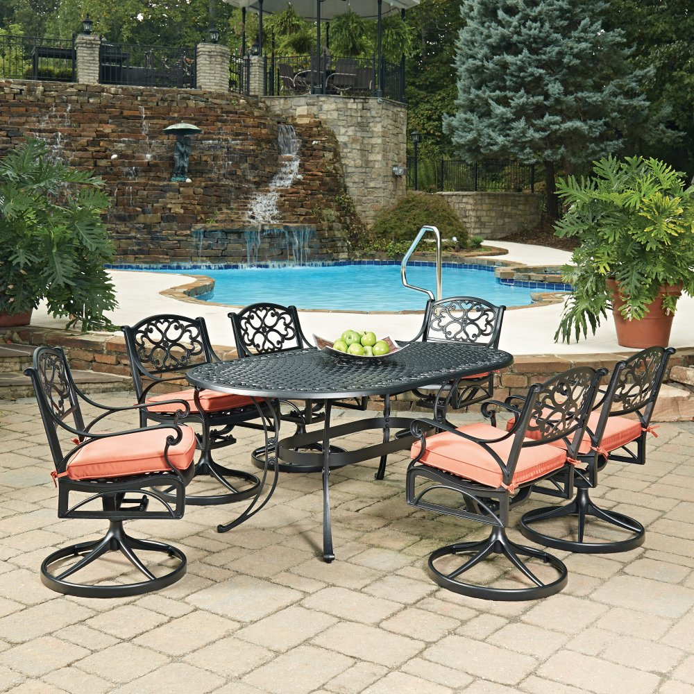 Biscayne Black Oval 7 Pc Outdoor Dining Table 6 Swivel Rocking Chairs With Cushions Homestyles