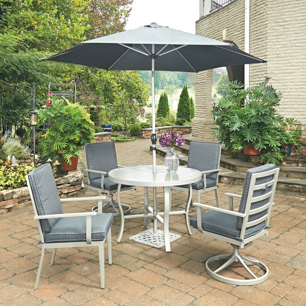 South Beach 7 Pc Round Outdoor Dining Table 2 Swivel Rocking Chairs 2 Arm Chairs With